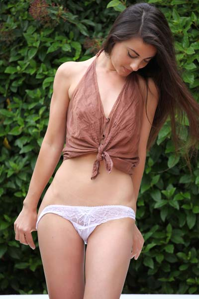 Adorable brunette Lorena G slowly reveals everything