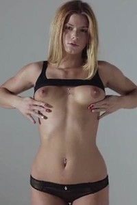 Pierced blonde Chrissy Fox slowly takes off her black panties