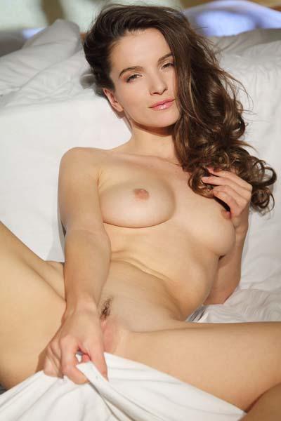 Sexy brunette Myla in early morning striptease