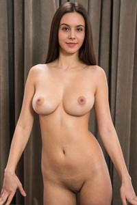 Brunette beauty Alisa I stuns us with her huge smooth and round breasts