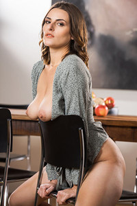 Beautiful sweetheart exhibits her nice boobs and sweet muff while posing for the camera
